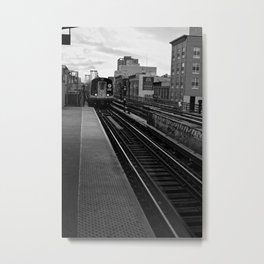 Black and White J Train Metal Print