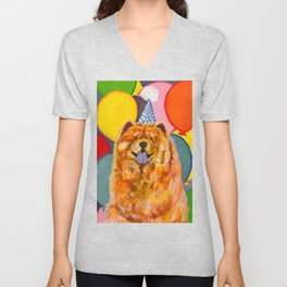 Chow Chow with Balloons Unisex V-Neck