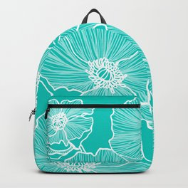 Turquoise Poppies Drawing Backpack