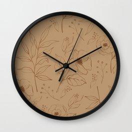 Garden Stroll Floral Pattern in Peach Wall Clock