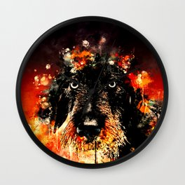 wire haired dachshund dog ws Wall Clock