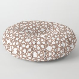 Arabesque pattern, brown on ivory Floor Pillow