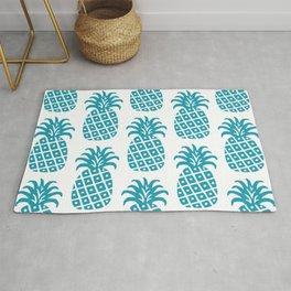 Retro Mid Century Modern Pineapple Pattern Turquoise Rug