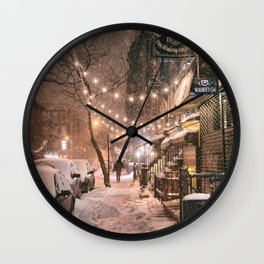Snow - New York City - East Village Wall Clock