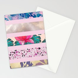 Geometric Elegant Tropical Floral Marble Pink Stripes Stationery Cards