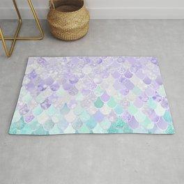 Cute, Mermaid Art, Purple and Teal Pattern Rug