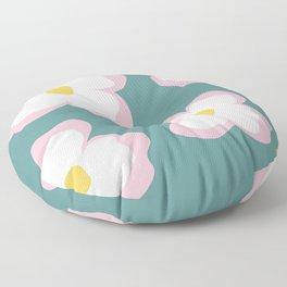 Evening Primrose on Aqua Floor Pillow