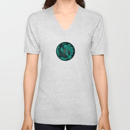 Teal Blue and Black Yin Yang Koi Fish Unisex V-Neck