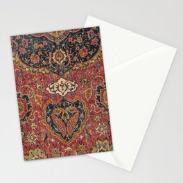 Persian Medallion Rug VII // 16th Century Distressed Red Green Blue Flowery Colorful Ornate Pattern Stationery Cards