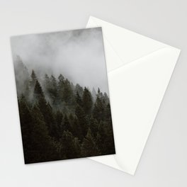 Evergreen Mountain Pines in the Fog Stationery Cards