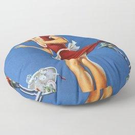 Fresh Lobster! - Satirical Pin Up Girl Waitress Motif Floor Pillow