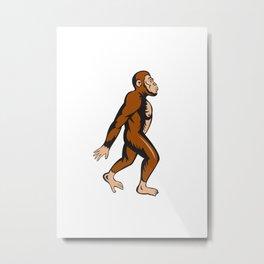 Neanderthal Man Walking Side Cartoon Metal Print