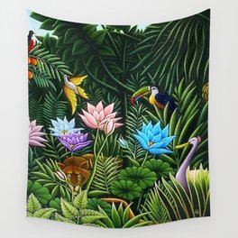Classical Masterpiece 'Tropical Birds and Flying Things' by Henry Rousseau Wall Tapestry