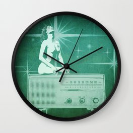Quiverish Radio 5 - Uncensored - Erotic Collage Art Wall Clock