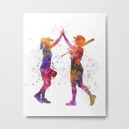 women playing softball 01 Metal Print