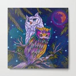 Midnight Owls (Painting) Metal Print