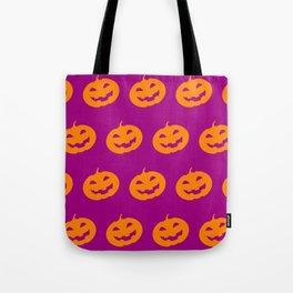 Halloween Pumpkin Pattern on Halloween Party Pink Tote Bag
