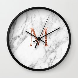 Monogram rose gold marble M Wall Clock