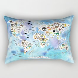 Cartoon animal world map, back to school. Animals from all over the world, blue watercolour watercolor Rectangular Pillow