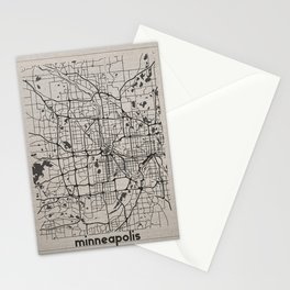 Minneapolis Minnesota Map-Minimalism Stationery Cards