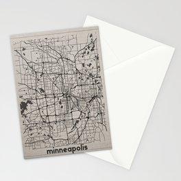 Minneapolis Minnesota Map-Minimalism Stationery Cards