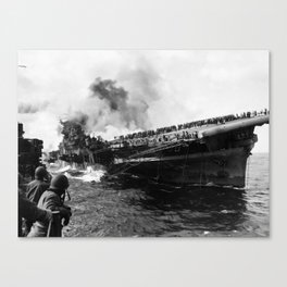 USS Franklin After Attack - 1945 Canvas Print