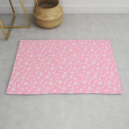 Festive Sweet Lilac Pink and White Christmas Holiday Snowflakes Rug
