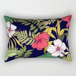 Tropical Island Oasis Floral Pattern Rectangular Pillow