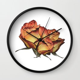 Roses orange, canvas, roses, flowers, rose fan, mothers day Wall Clock