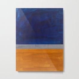Minimalist Mid Century Rothko Color Field Navy Blue Yellow Ochre Grey Accent Square Colorblock Metal Print