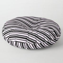 Pink Lace Pink and Black Diagonal LTR Var Size Stripes Floor Pillow