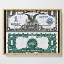 Vintage 1899 Eagle US $1 Dollar Bill Silver Certificate Wall Art Serving Tray