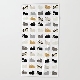 Cat Loaf 2 - White Ground Beach Towel