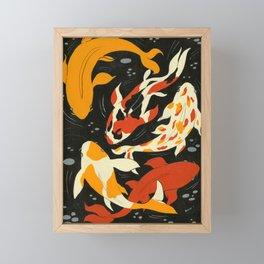 Koi in Black Water Framed Mini Art Print