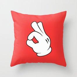 Ok Cartoon Emoji Hands Throw Pillow