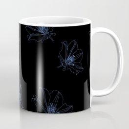 Blue Line Art Flowers on Black Coffee Mug