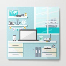 Sea sailor office interior cartoon drawing Metal Print