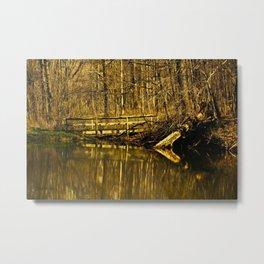 Oak Creek Pond Bridge Metal Print