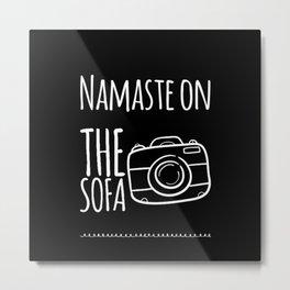 Namaste On The Sofa Metal Print