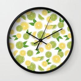 Lemon Lime Citrus Fruits Wall Clock