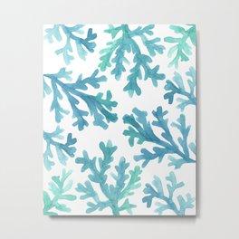 Blue Ombre Coral Metal Print