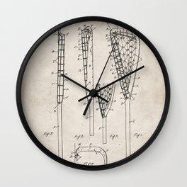 Lacrosse Stick Patent - Lacrosse Player Art - Antique Wall Clock
