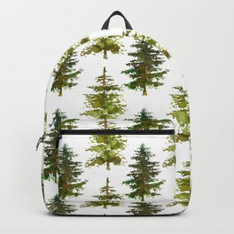 Hand painted green forest green watercolor trees motif Backpack