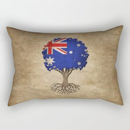 Vintage Tree of Life with Flag of Australia Rectangular Pillow