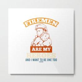 Firefighter Hero Baby Metal Print