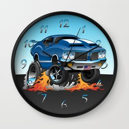 Classic Seventies American Muscle Car Hot Rod Cartoon Illustration Wall Clock