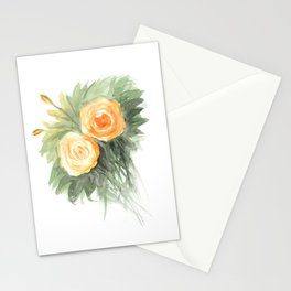 Orange roses painting watercolor home decor art work Stationery Cards