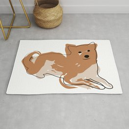 Line dog with paint spots Rug