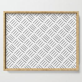 Gray and White Cross Hatch Design Pattern Serving Tray