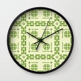 Mediterranean Pattern 6 - Tile Pattern Designs - Geometric - Green - Ceramic Tile - Surface Pattern Wall Clock